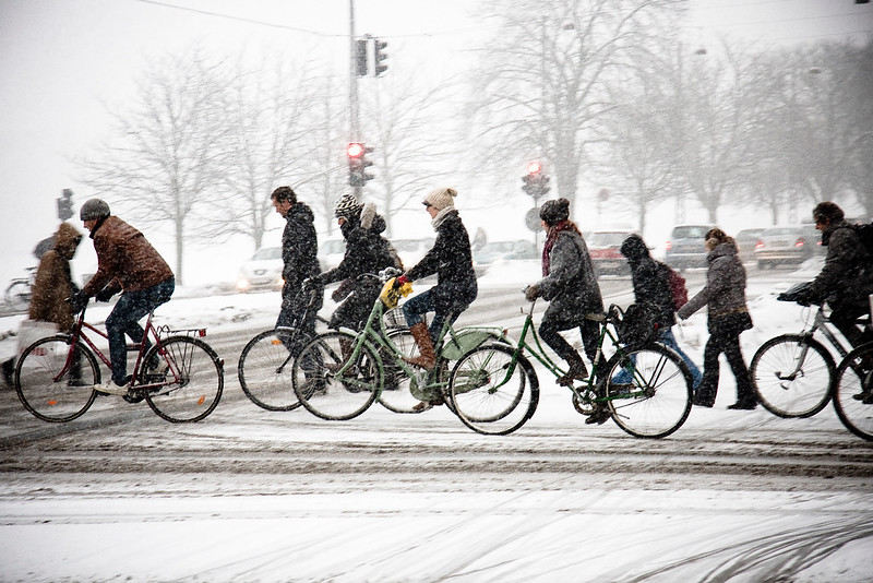 Cyclists in the snow in Copenhagan